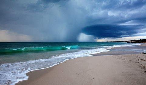Storm approaching over Perth beach, Western Australia.