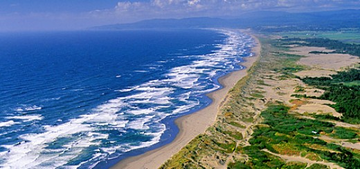 Aerial over Mad River Beach, near Arcata, Humboldt County, CALIFORNIA.