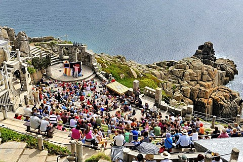 Minack Theatre, amphitheater at Porthcurno, south coast of Cornwall, England, UK, Europe