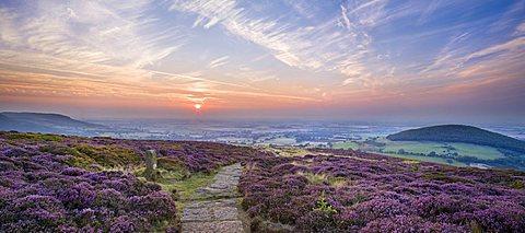 Sunset on the Cleveland Way near Faceby, North Yorkshire Moors, Yorkshire, England, United Kingdom, Europe