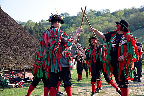 Morris dancers, Beltane Wickerman celebrations at Butser Ancient Farm, Hampshire, England, United Kingdom, Europe