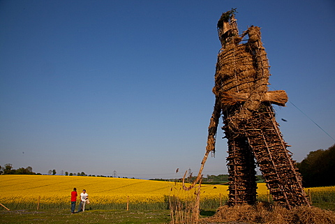 Wickerman, Beltane celebrations at Butser Ancient Farm, Hampshire, England, United Kingdom, Europe