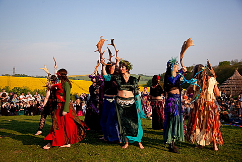 Beltane Wickerman celebrations at Butser Ancient Farm, Hampshire, England, United Kingdom, Europe