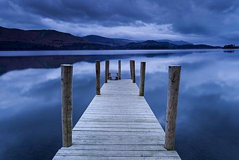 Dawn at Ashness Landing jetty on Derwentwater, Keswick, Lake District National Park, Cumbria, England, United Kingdom, Europe