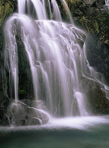 Detail of waterfall on Mosedale Beck, Wastwater, Lake District, Cumbria, England, United Kingdom, Europe