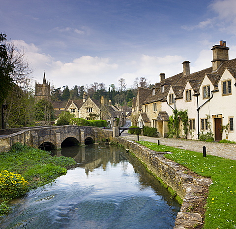 Picturesque Cotswolds village of Castle Combe, Wiltshire, England, United Kingdom, Europe