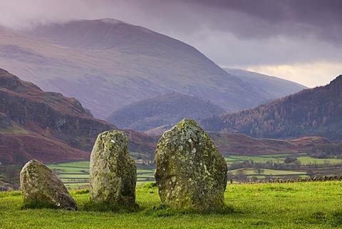 Castlerigg Stone Circle and mountains, Lake District National Park, Cumbria, England, United Kingdom, Europe