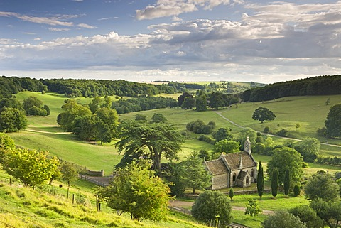 Church of St. Mary the Virgin surrounded by beautiful countryside, Lasborough in the Cotswolds, Gloucestershire, England, United Kingdom, Europe