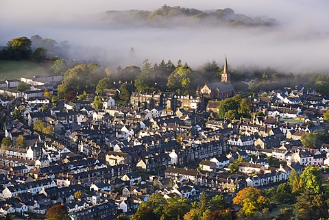 Aerial view of Keswick in the Lake District National Park, Cumbria, England, United Kingdom, Europe