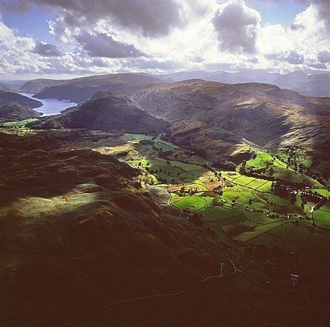 Aerial image of valley north of Thirlmere, Lake District National Park, Cumbria, England, United Kingdom, Europe