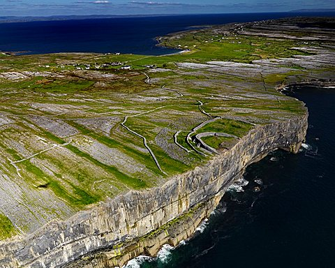 Aerial view of Dun Aengus fort on the Aran Islands, Dun Aengus, Inishmore, Aran Islands, Galway, Ireland