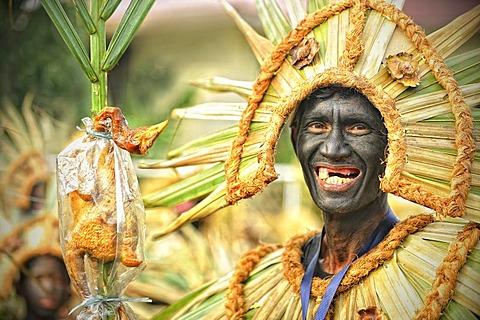 Tourist as chief, Ati Atihan celebration, Kalibo, Philippines