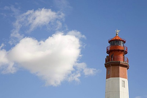 Heart-shaped cloud beside lighthouse, Fluegge, Fehmarn Island, Baltic Sea, Schleswig Holstein, Northern Germany