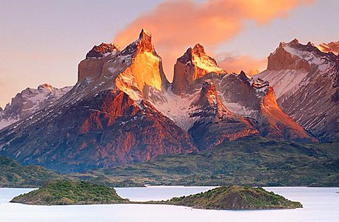 Cuernos del Paine and Pehoe Lake, Torres del Paine National Park, Patagonia, Chile