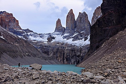 Lake and mountain range, Torres del Paine National Park, Chile