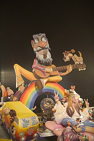 Typical falla monument put up during the annual Las Fallas festival in Valencia, Spain, Europe