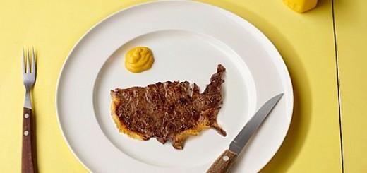 Slice of meat in shape of US