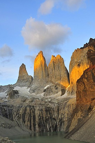Torres del Paine at sunrise, Torres del Paine National Park, Patagonia, Chile, South America