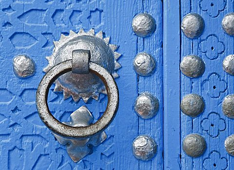 Detail of blue painted wooden door, Chefchaouen, Morocco, North Africa, Africa