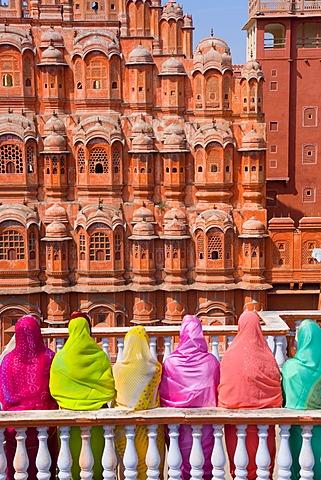 India, Rajasthan, Jaipur, Hawa Mahal, Palace of the Winds, built in 1799 the Palace of the Winds is one of Jaipurs landmarks
