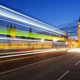 Motion blurred bus on Westminster Bridge and Houses of Parliament, London, England, United Kingdom, Europe