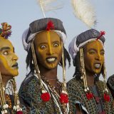 Wodaabe-Bororo men with faces painted at the annual Gerewol male beauty contest, a general reunion of West African Wodaabe Peuls (Bororo Peul), Niger, West Africa, Africa