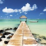 Jetty and boat on the turquoise water, Black River, Mauritius, Indian Ocean, Africa