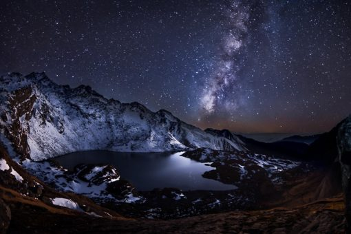 The Milky Way at night over mountains