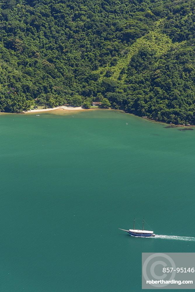 Scenic view of sea from Mamangua Peak, Saco do Mamangua, Paraty, Costa Verde, Brazil