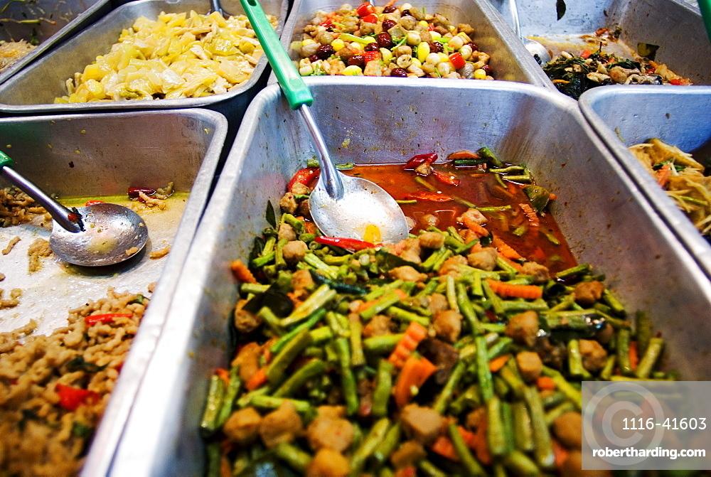 Thailand, Bangkok, Close-Up Of Unusual Delicacies Found At Street Vendor Food Stalls.