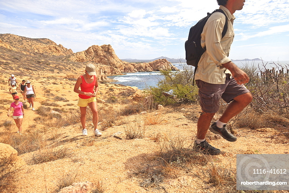 Hikers along a scenic desert trail, Baja california sur mexico