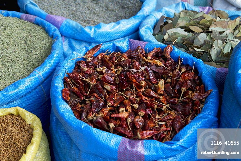 Dried spices in blue bags