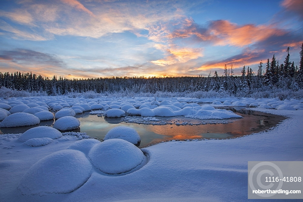 Red clouds at sunset over mcintyre creek, Whitehorse, yukon, canada