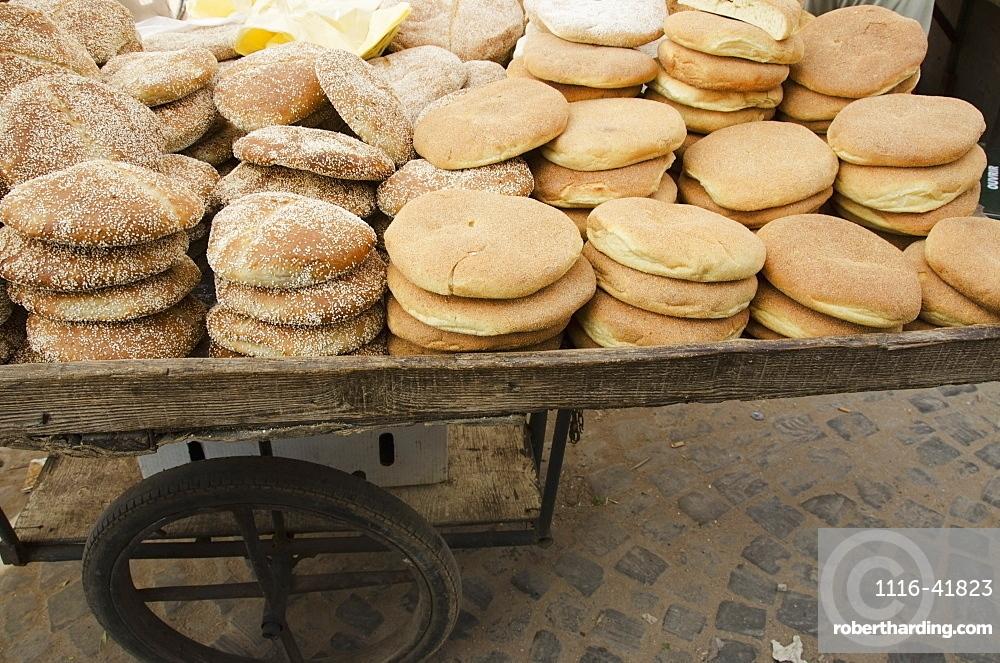 Bread for sale on a cart, Casablanca morocco