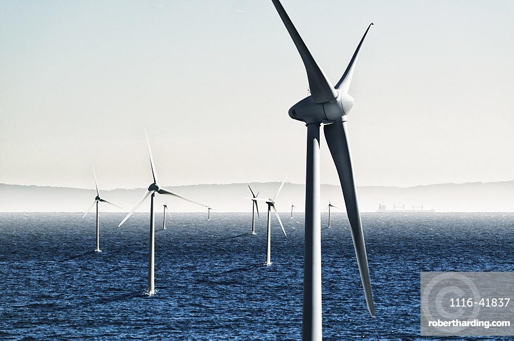 Digital composite of wind turbines on the water, Tarifa cadiz andalusia spain