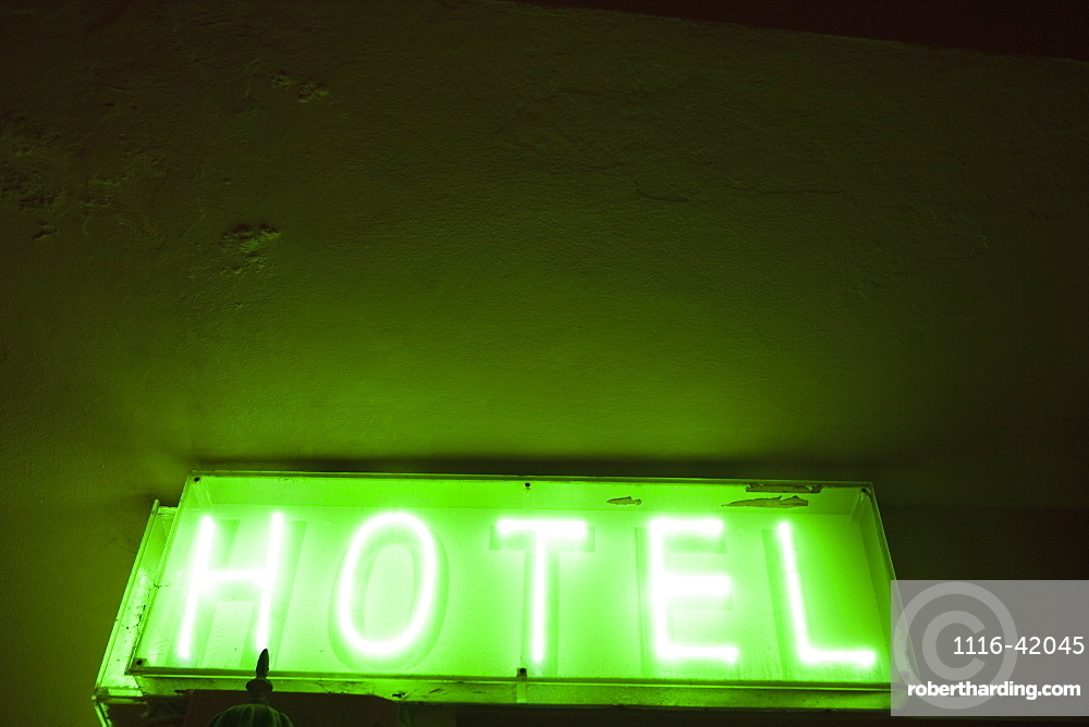 Hotel Sign, Tarifa, Cadiz, Andalusia, Spain