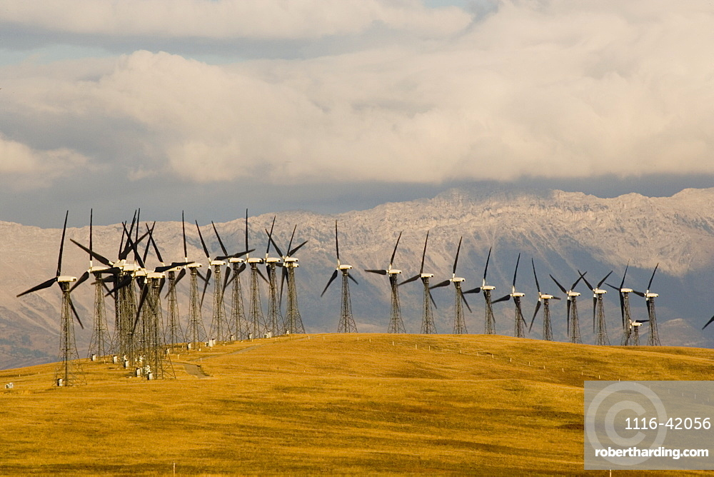 Windmills Used To Generate Electrical Power Near Pincher Creek In Southern Alberta, Canada