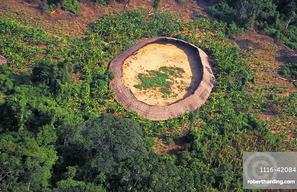 Yanomami Village Seen From The Helicopter, South Of Venezuela