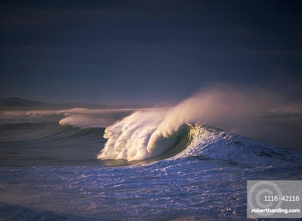 A Wave Breaks At Ziolkouski Beach, Winchester Bay, Oregon, United States Of America