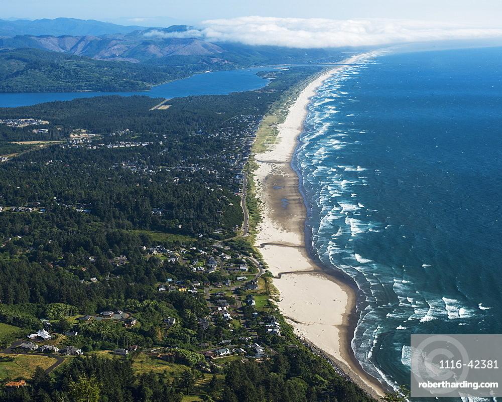 Nehalem Bay And Manzanita Are Viewed From Neahkahnie Mountain, Manzanita, Oregon, United States Of America