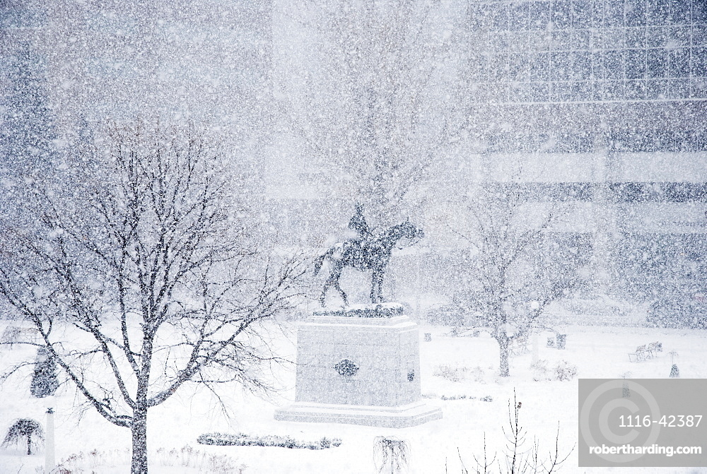 Plaza And Monument In A Snow Storm, Calgary, Alberta, Canada