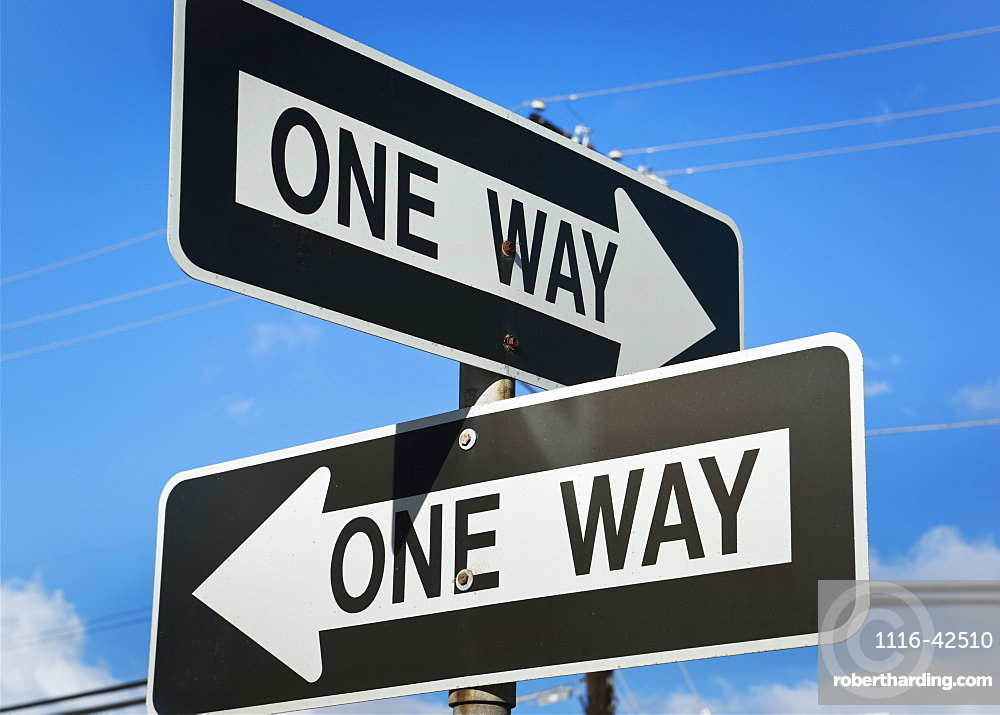 Road Signs With Arrows Saying One Way, Honolulu, Oahu, Hawaii, United States Of America