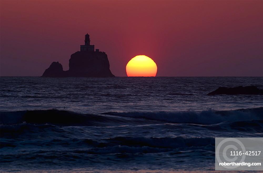 The Sunset At Tillamook Rock Lighthouse, Cannon Beach, Oregon, United States Of America