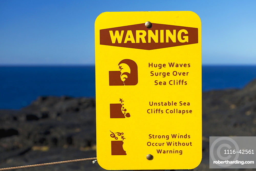 Sign To Warn Of Strong Winds, Waves And Cliff Collapse, Big Island, Hawaii, United States Of America