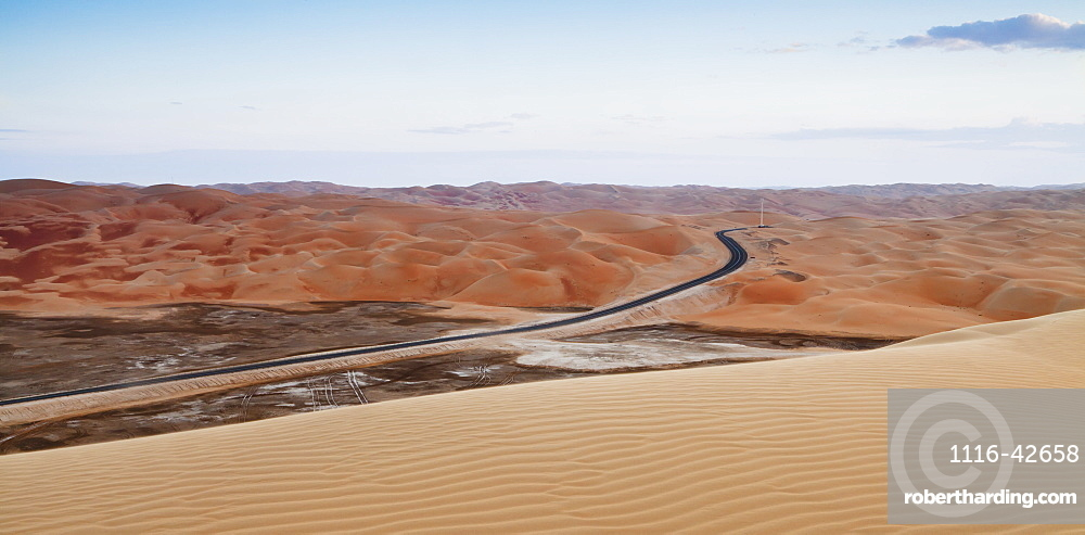 A Road Through The Desert Landscape, Liwa Oasis, Abu Dhabi, United Arab Emirates
