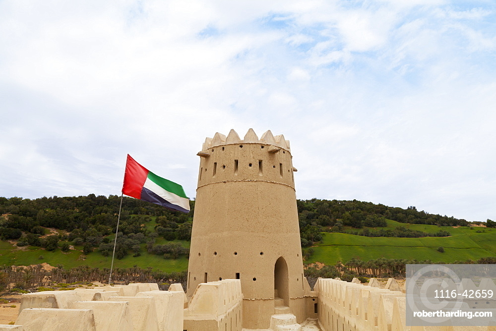 Mezaira Fort And Uae Flag, Liwa Oasis, Abu Dhabi, United Arab Emirates