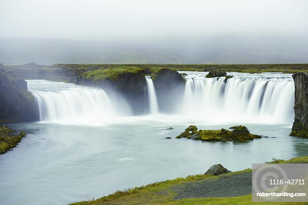 Godafoss Waterfall In The Rain, Waterfalls Of The Gods, Fossholl, Myvatn, Iceland