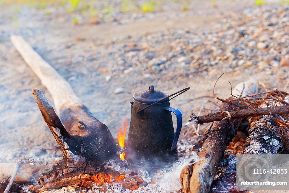 Coffee Pot In The Campfire, Dawson, Yukon, Canada