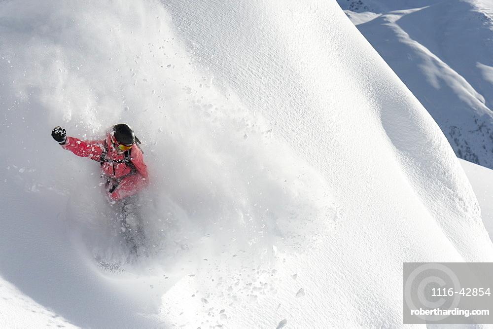 Snowboarding In Powder Snow, St. Moritz, Graubunden, Switzerland