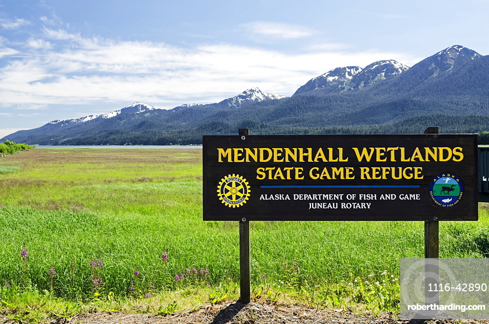Mendenhall Wetlands State Game Sanctuary With The Mountains Of Douglas Island In The Distance, Juneau, Alaska, United States Of America